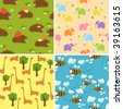 Four seamless animal backgrounds - stock vector