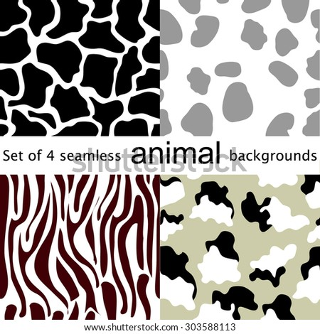 Four seamless animal patterns. Giraffe, dog, cow, zebra. Safari collection. Abstract vector backgrounds. Backgrounds & textures shop. - stock vector
