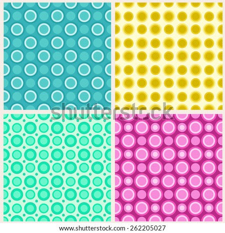 Four seamless patterns in retro colors, circles - stock vector