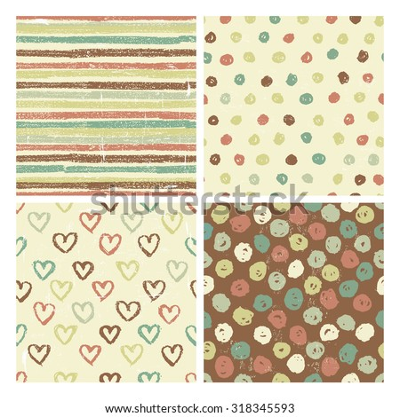 Four seamless patterns in rustic style . All objects are conveniently grouped and are easily editable. - stock vector
