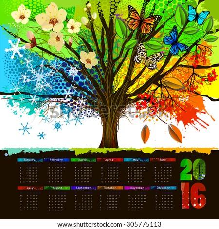 Four season tree. Calendar 2016 year design. Vector - stock vector