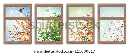 Four Season Windows: Spring, Summer, Autumn and Winter - stock vector