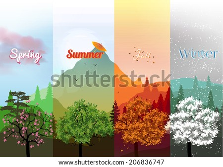 Four Seasons Banners with Trees - Vector Illustration - stock vector