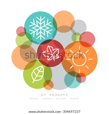 four seasons icon symbol vector illustration - stock vector