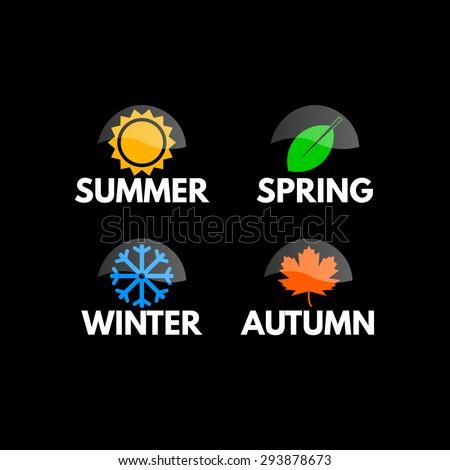 Four seasons icon symbol vector illustration. Weather - stock vector