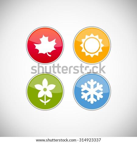 Four seasons icon symbol vector illustration. Weather forecast - stock vector