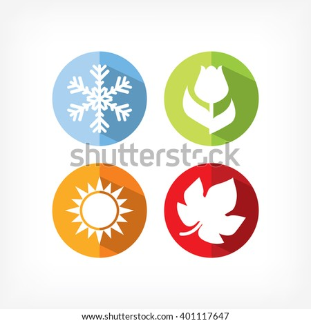 four seasons icons vector illustration. winter spring summer autumn icons. - stock vector