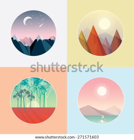 four seasons round landscape icons vector illustrations in low polygon style. Winter mountain peaks with snow, autumn forest triangular peaks, spring woods with poppies field and ocean in the summer. - stock vector