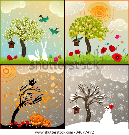 Four seasons set with tree, birdhouse, birds, pumpkin lanterns and snowman - stock vector