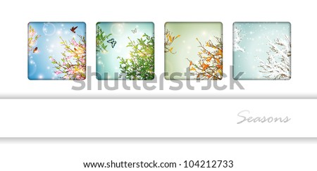 Four Seasons: spring, summer, autumn and winter - stock vector