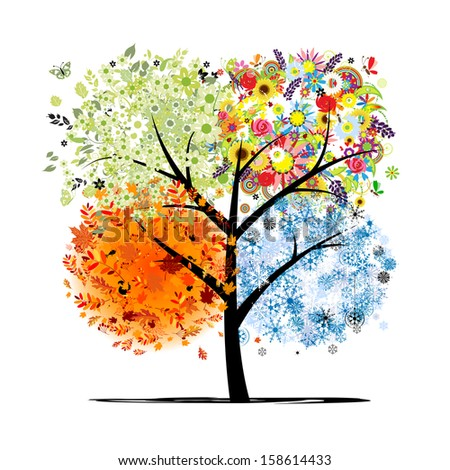 Four seasons - spring, summer, autumn, winter. Art tree beautiful for your design - stock vector