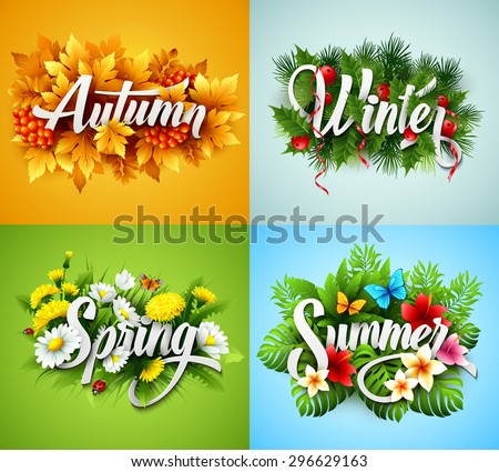 Four Seasons  Typographic Banner. Vector illustration EPS 10 - stock vector