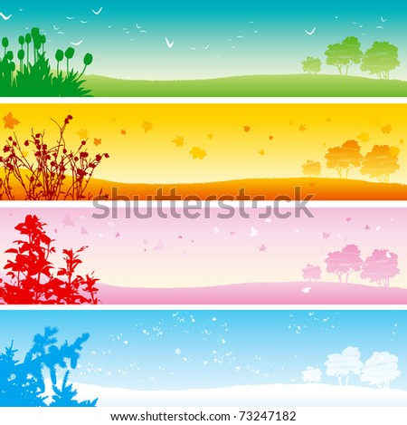 Four seasons. Web banner of four seasons - summer, Autumn, spring and winter Landscape. - stock vector
