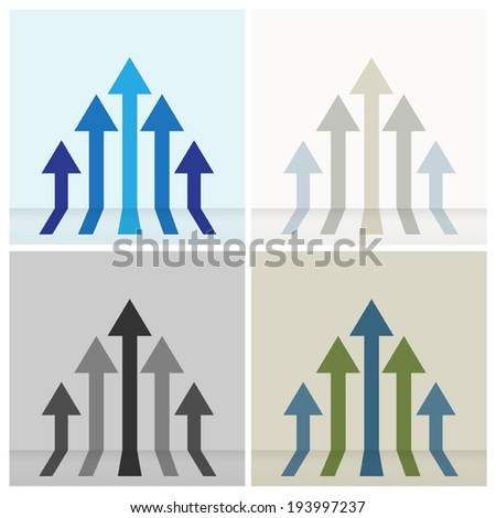 Four set of colorful five arrows going up ,can be use for abstract business sign or background. Vector EPS 10. - stock vector