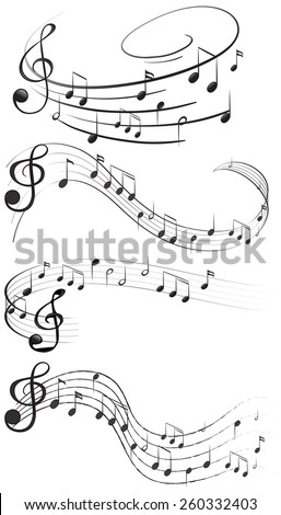 Four set of music notes - stock vector