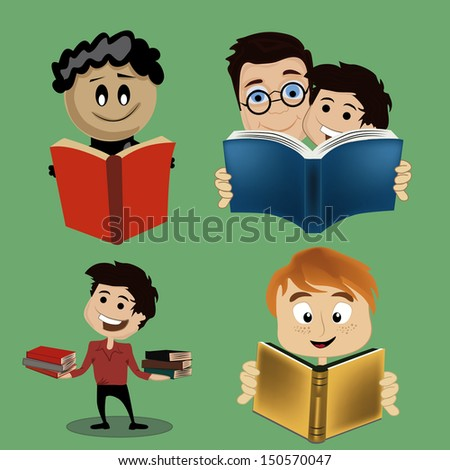 four simple icons of people reading books and having fun - stock vector