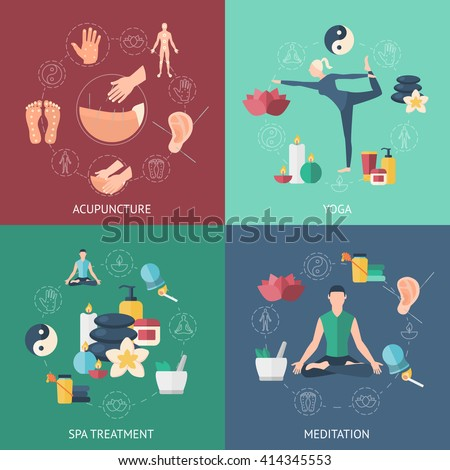 Four square colored icon set with people the attending on acupuncture on yoga on meditation on spa treatment vector illustration - stock vector