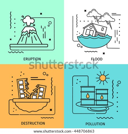 Four square disaster damage colored icon set in linear style with descriptions of eruption flood destruction and pollution vector illustration - stock vector