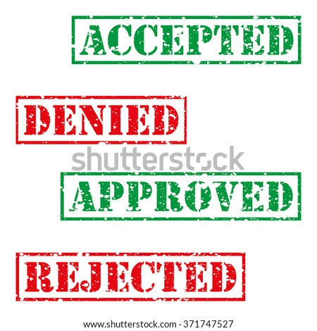 Four  stamp with grunge. Accepted, denied, approved, rejected - stock vector