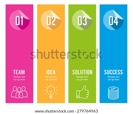 Four steps info graphics, can illustrate a strategy, workflow or team work. - stock vector