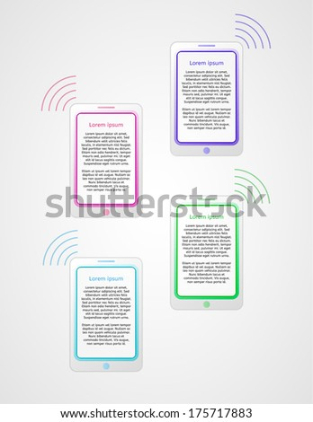 four steps infographics with phones on gray gradient background - stock vector