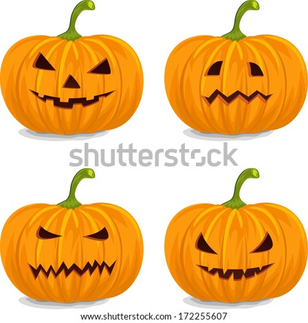 Four Style Decorative Yellow Pumpkins for Halloween. - stock vector