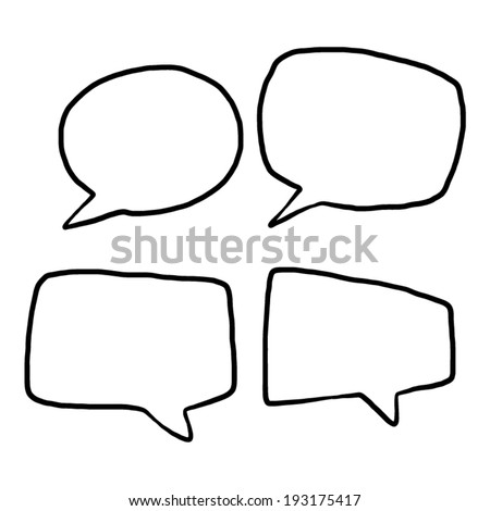 four style speech bubbles / cartoon vector and illustration, black and white, hand drawn, sketch style, isolated on white background. - stock vector