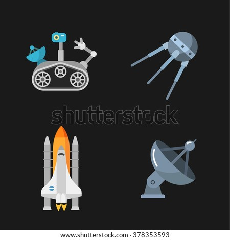 four stylish space icons - stock vector