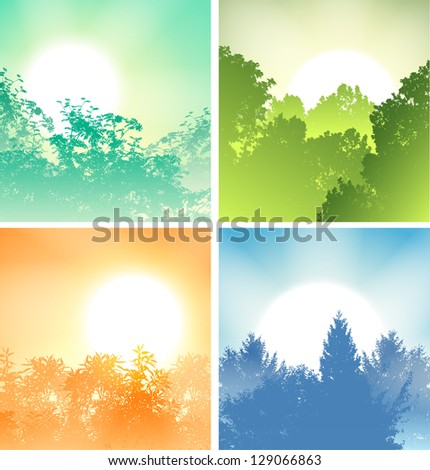Four Sunrises above trees set - stock vector