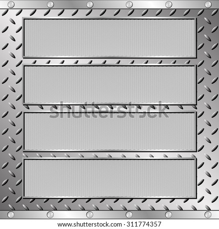 four textured plaques on steel sheet - stock vector