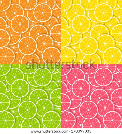 Four types of citrus fruit slice backgrounds with juice drops - stock vector