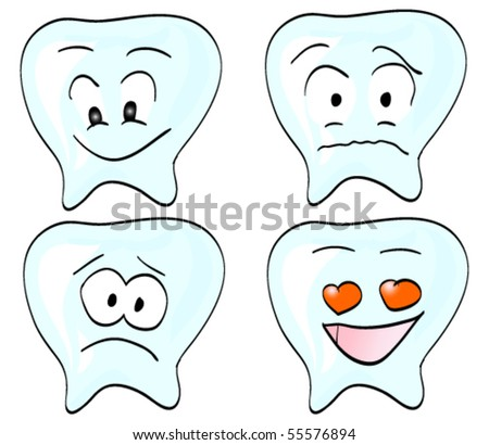 Four types of teeth with various emotions: love, fear, sadness, joy - stock vector