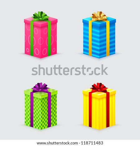 four unopened gift boxes with ribbons and bows with lids - stock vector