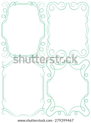 Four vector delicate frames. Set on a white background - stock vector