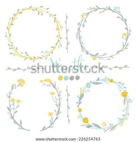 Four vector floral wreaths. Hand drawn design elements set. - stock vector