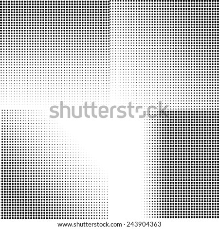 Four vector halftone dotted backgrounds. Black dots on white background. - stock vector