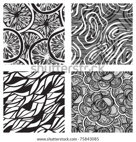 four vector seamless abstract monochrome backgrounds, clipping masks - stock vector