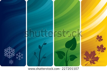 Four vertical abstract backgrounds with seasons pictures. Eps8. CMYK. Organized by layers. Gradients used. Eight global colors. - stock vector