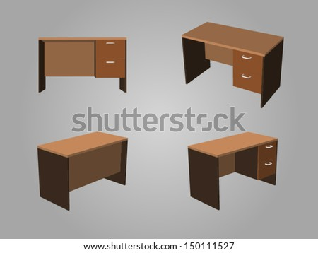Four View of Brown tone office table made from wood - stock vector
