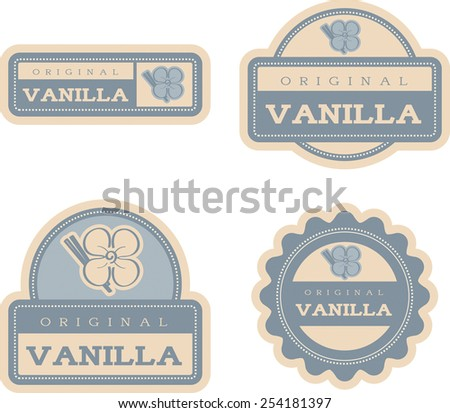 Four vintage food label designs with a vanilla theme and illustration. - stock vector