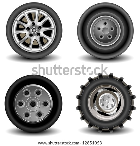 Four wheels of different kinds to vehicles, machines, car, a vector an illustration - stock vector