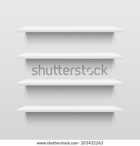 Four white realistic shelves. Vector illustration - stock vector