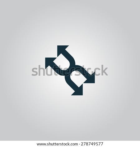 Fourfold Arrow. Flat web icon or sign isolated on gray background. Collection modern trend concept design style vector illustration symbol - stock vector