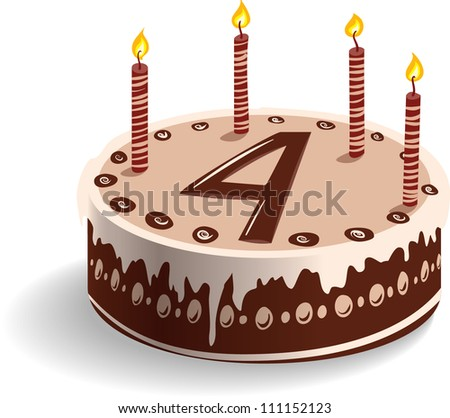 Fourth Birthday Cake - stock vector