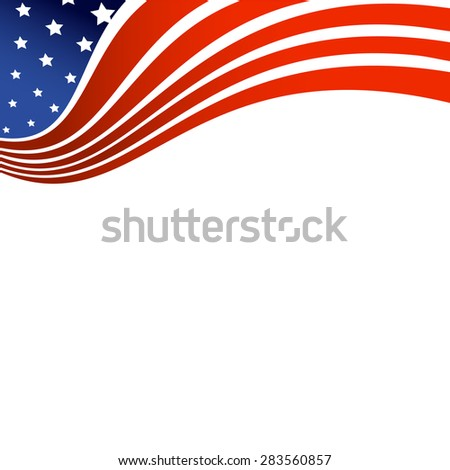 Fourth of July, American Independence Day wave in national flag colors on white background - stock vector