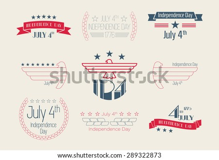 Fourth of July Design Collection, 4th of July, set of vintage style Independence Day Designs - stock vector