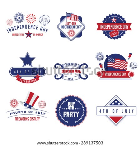 Fourth of July icon set. EPS 10 vector. - stock vector