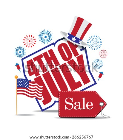 Fourth of July Sale icon EPS 10 vector royalty free stock illustration for greeting card, ad, promotion, poster, flier, blog, article, ad, marketing, retail shop, brochure, signage - stock vector
