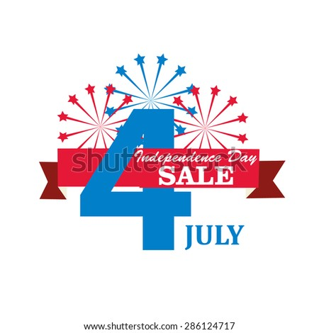 Fourth of July sale icon with fireworks, vector - stock vector