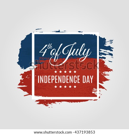Fourth of July USA Independence Day greeting card. 4th of July America celebration wallpaper. Independence national holiday US flag card design. Vector illustration. EPS 10 - stock vector